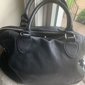 Audrey Brooke black leather satchel 19X12